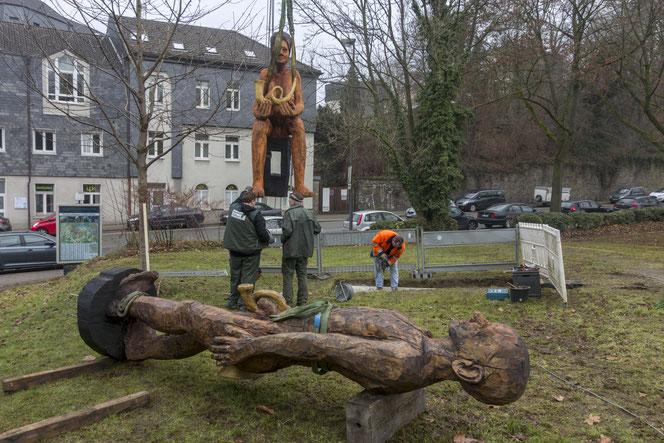 Aufbau der Skulpturen am 14. Dezember 2016