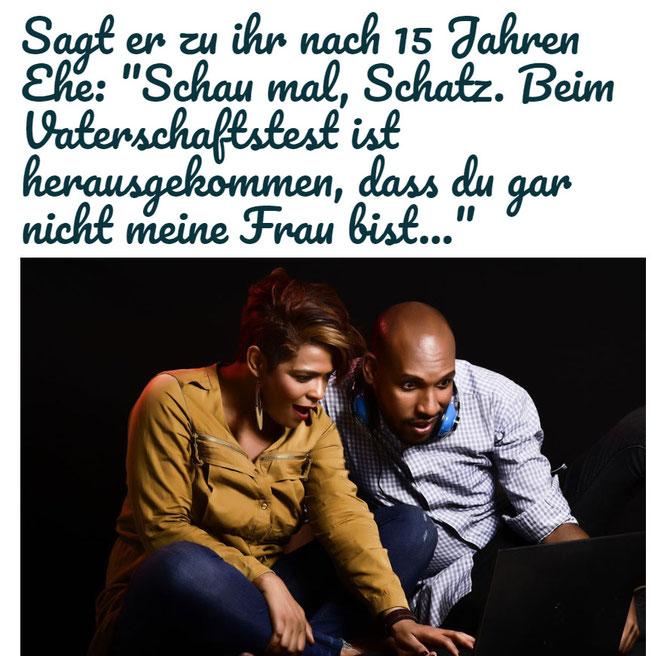 Ein Ehepaar schaut sich erstaunt das Ergebnis des Vaterschaftstest an (Foto: Pixabay)