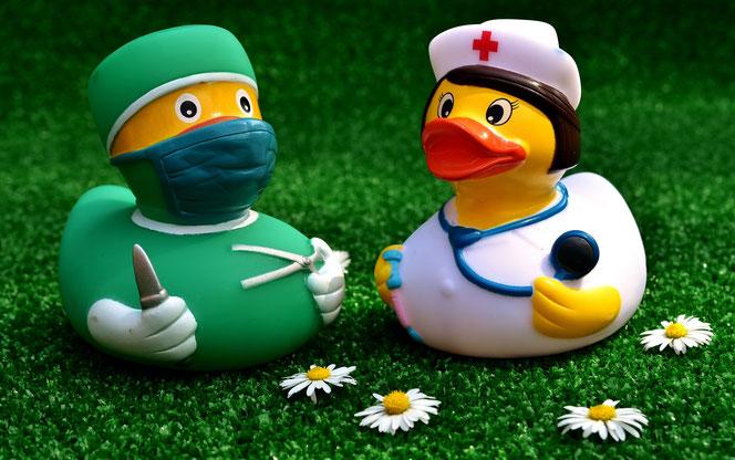 Geht da was? Der Enten-Doktor und die Krankenschwester (Foto: Pixabay)