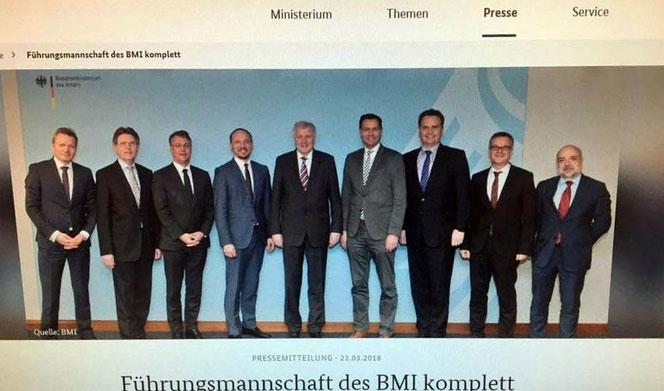 Frauen? Fehlanzeige! Horst Seehofers Heimatministerium ist männlich und weiß und trägt Schlips (Foto: Bundesministerium des Innern - inzwischen gelöscht und leider kein Witz)