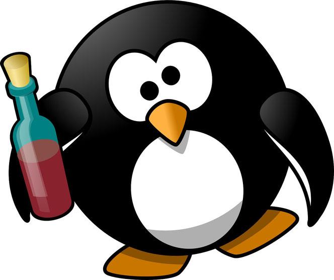 Pinguin trinkt Rotwein (Foto: Pixabay)