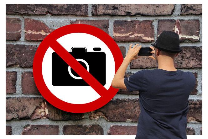 """Achtung DSGVO! Bloß nicht das """"Nicht Fotografieren""""-Schild ablichten. Sie veletzen sonst das Recht auf eigenes Bild des Schildes (Foto: Pixabay)"""