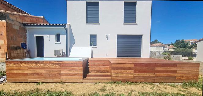 Réalisation bassin + terrasse à Restinclières