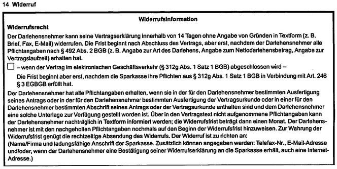 Sparkassen Kredit Darlehen wegen fehlerhafter Widerrufsbelehrung widerrufen - Rechtsanwalt Sven Nelke