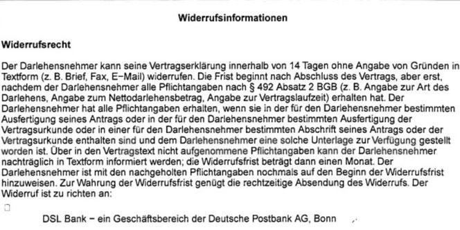 DSL-Bank Deutsche Postbank AG  Kredit Darlehen wegen fehlerhafter Widerrufsbelehrung widerrufen - Rechtsanwalt Sven Nelke