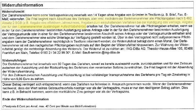 ING-DiBa Kredit Darlehen wegen fehlerhafter Widerrufsbelehrung widerrufen - Rechtsanwalt Sven Nelke
