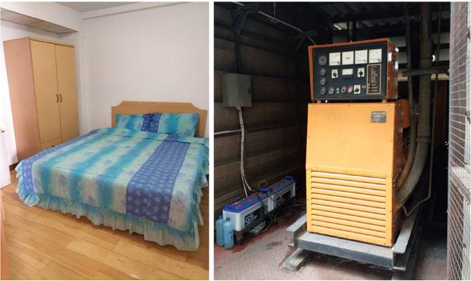 家具は完備しています(左) 停電時は発電機が活躍(右)