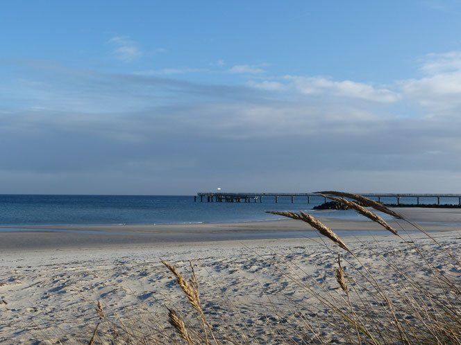 Blick auf die Seebrücke am Strand der Probstei
