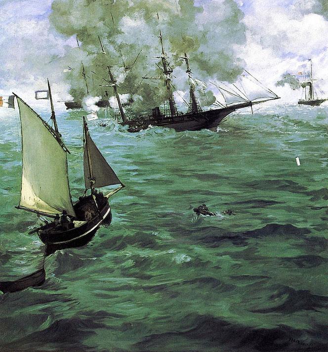 Une image de la bataille de Cherbourg, entre le Kearsarge et l'Alabama, le 19 juin 1864. La bataille fait partie de la Guerre de Sécession américaine.