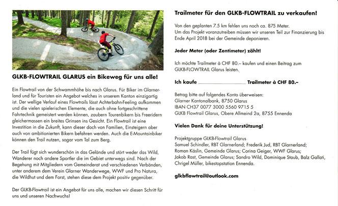 Biketrail Schwammhöhe Flowtrail Glarus GLKB Flowtrail Projektgruppe Flyer Gönner Sponsoren