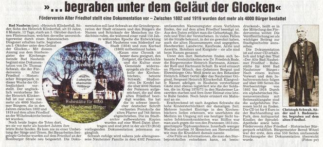 Wetterauer Zeitung vom 22. November 2007