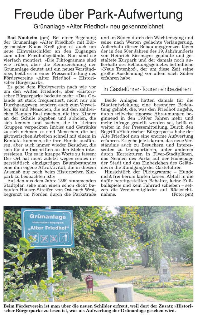 Wetterauer Zeitung vom 25. August 2018
