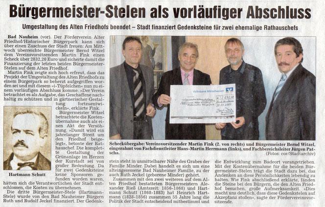 Wetterauer Zeitung vom 20. Novemver 2009