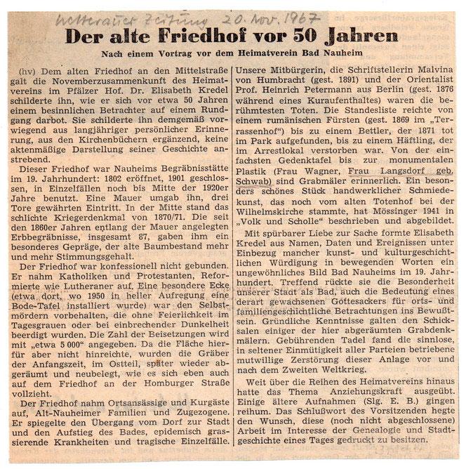 Wetterauer Zeitung vom 20. November 1967