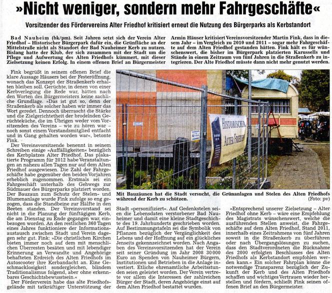 Wetterauer Zeitung vom 11. Oktober 2012