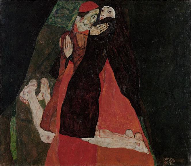 エゴン・シーレ「枢機卿と尼僧」