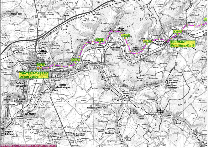 Le tracé de Paris-Alsace 2017 de Château-Thierry à Dormans.