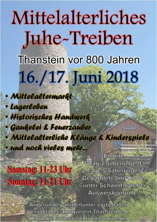 Das Highlight 2018 auf der Burg - Mach mit uns eine Reise zurück ins alte Thanstein vor 800 Jahren