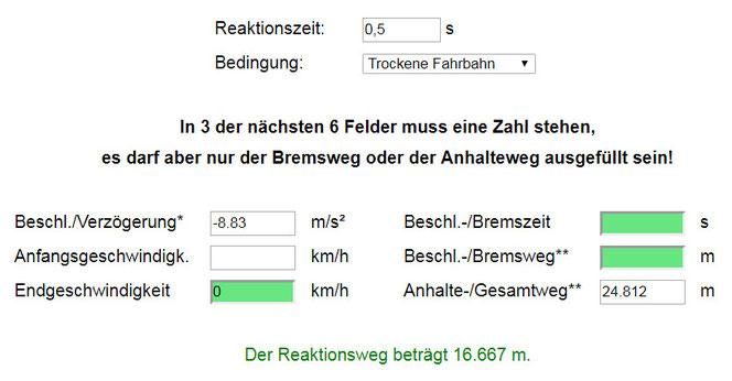 Screenshot des ausgefüllten Bremswegrechners