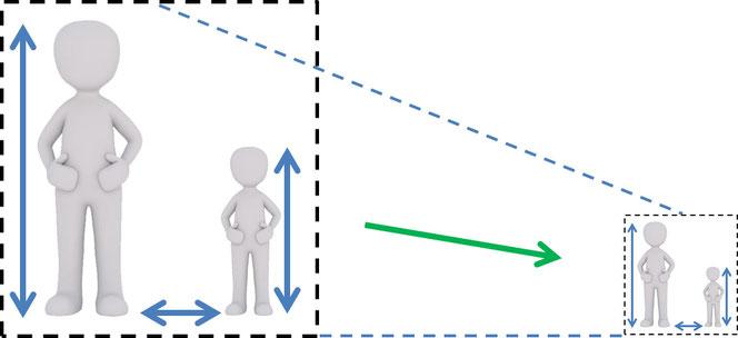 Abb. 2: Maßstabsgetreue Verkleinerung
