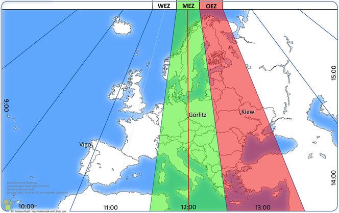 Mitteleuropäische Zeitzone (MEZ) und Osteuropäische Zeitzone (OEZ) zomeruur, l'heure d'été,