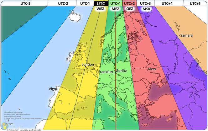 Abb. - Karte 2: Zeitzonen in Europa mit den geographisch zugeordneten Bezeichnungen (WEZ, MEZ, OEZ)