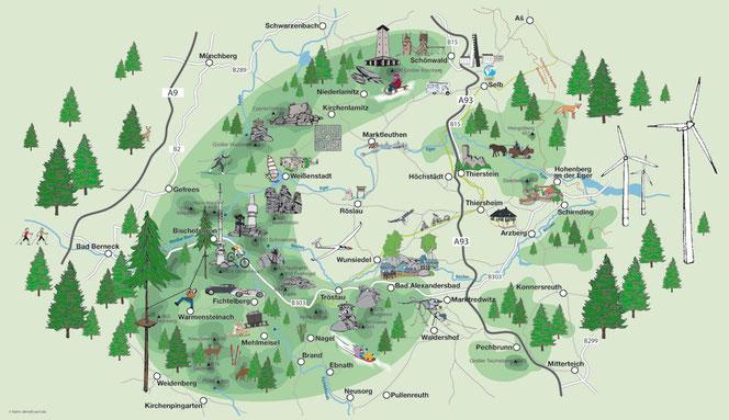 Übersichtskarte des Fichtelgebirges - Neuhaus ist relativ weit im Osten zwischen Hohenberg und Thierstein