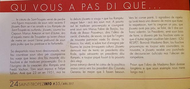 Saint-Tropez info avril 2017