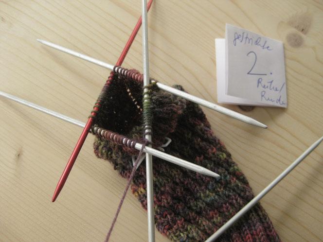 copyright www.birthe.eu Birthe Sülwald diagonale Socke 2. Runde