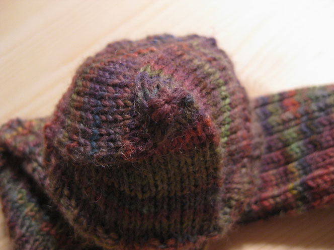 copyright www.birthe.eu Birthe Sülwald diagonale Socke Sockenspitze 3 Abnahmen