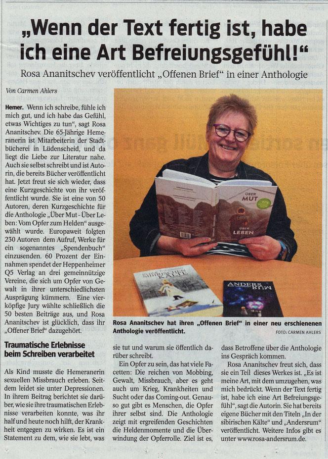 """""""Iserlohner Kreisanzeiger und Zeitung"""", Artikel über die Autorin Rosa Ananitschev: """"Wenn der Text fertig ist, habe ich eine Art Befreiungsgefühl"""", von Carmen Ahlers"""