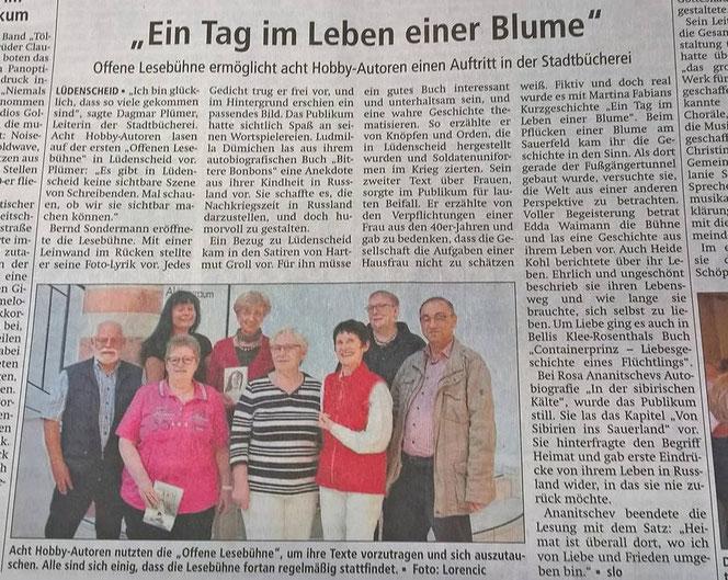 """Offene Lesebühne für Hobbyautoren in der Stadtbücherei Lüdenscheid. Artikel in """"Lüdenscheider Nachrichten"""""""