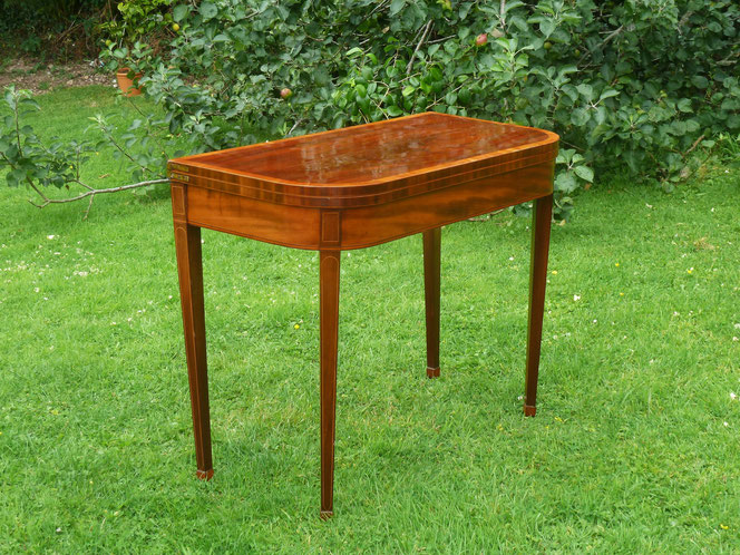 George III mahogany and satinwood card table, restored