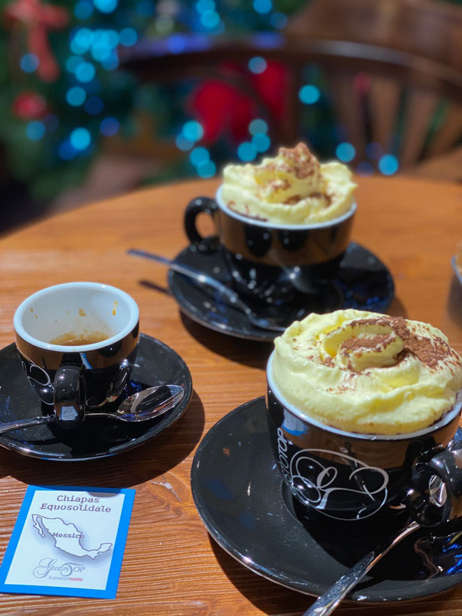 Caffè Monorigine Messico Chiapas, e cioccolata calda con crema al mascarpone soft