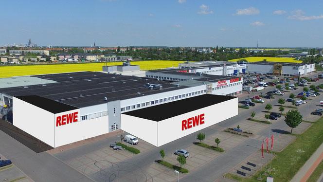 Fotomontage: Hier entsteht der Neubau für REWE