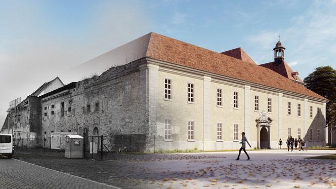 Nordflügel des Schlosses (links) im derzeitigen Zustand und Westflügel nach der Revitalisierung / Die Simulationen wurden vom AADe Atelier für Architektur und Denkmalpflege gefertigt.