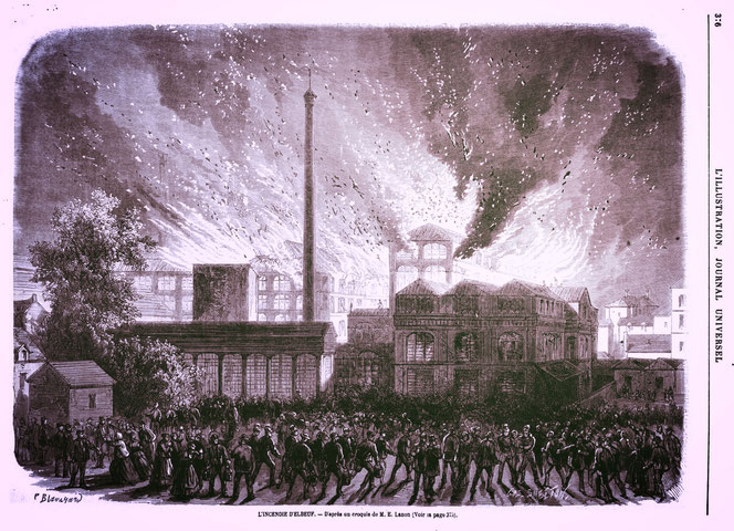 Violent incendie à Elbeuf en 1870 (Journal Universel l'Illustration)