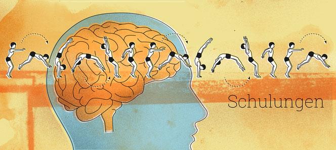 Nachhaltige Schulungen und Trainings durch Übungen aus dem Improvisationstheater, die wirklich was bringen, weil die positiven Erlebnisse im Gehirn verankert werden.