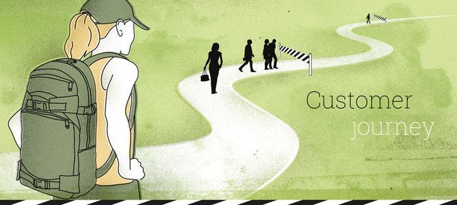 Elemente der Customer journey sind die Personas, die Touchpoints und die Lust- und Frusterlebnisse
