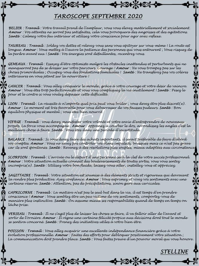 Taroscope de septembre 2020 par Stelline Voyance