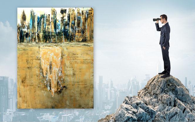 moderne Bilder, figurative Gemälde,  bunte Bilder, gespachtelt, XXL, Baum, Wald, Bäume, Modern Art, Abstrakte Kunst, Malerei, Original Bild, Unikat, Acrylbilder Rot,