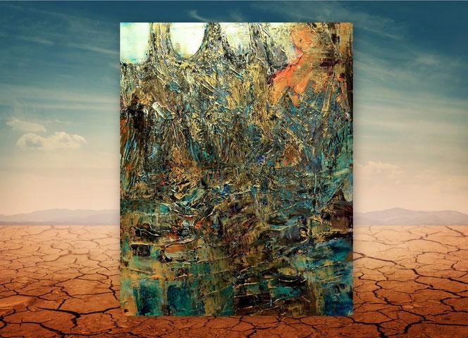 Moderne Gemälde, XXL, gespachtelt, Blau, Silber, Bunt, kraftvolle Strukturen, zeitgenössische Kunst, Abstrakte Malerei, Kunstgalerie, großformatige Bilder,
