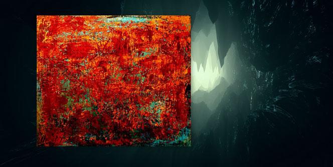 Abstrakte Malerei, Ocker, Grau, Gold, Grün, Wüste, Spachtelbild, Acryl, Moderne Gemälde, Acrylbilder moderne Malerei, Moderne Kunst, Originale,