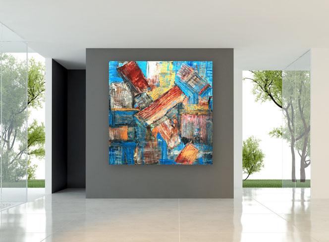 Gemälde, Abstrakte Malerei, Skyline, Stadt, City, Strukturen, Moderne Gemälde, Kupfer, Blau, Moderne Malerei, Bilder, Gemälde, Acrylbilder, Originale, Unikate,XXL,