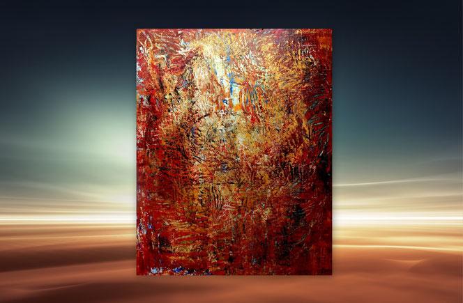 Abstrakte Malerei,  Moderne, Gemälde, Stimmungsbild, Blau, Gold, Habitat, Lebensraum, Abstrakte Gemälde, Gemälde Abstrakt, großformatig, XXL, große Bilder, kaufe, Galerie, Kunstbilder, hochwertig,