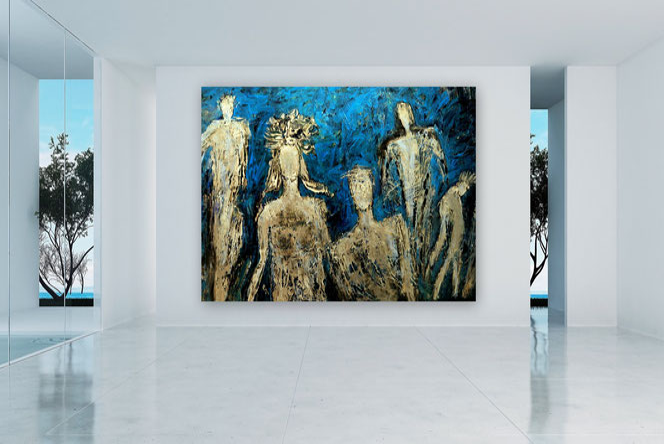 Abstrakte Kunst, Gemälde, Originale, Blau, Silber, XXL, Spachtel Gemälde, gespachtelt, Strukturen, Moderne Malerei, Abstrakte Malerei, Gegenwartskunst,
