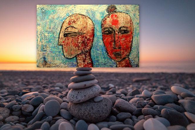 Baum, Birken, Wald, Schwarz-Weiß, Abstrakte Kunst, Gemälde, Originale, Strukturen, Grün, Rot, Spachtel Gemälde, gespachtelt, Strukturen, Moderne Malerei, Abstrakte Malerei, Gegenwartskunst,