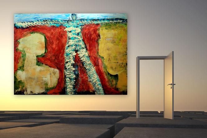 Abstrakte Gemälde, Moderne Malerei, Gelb, Grau, Wohnzimmerbilder, XXL,  großformatig, Struktur Gemälde,  XXL, Abstrakte Kunst, Malerei, Original Bild, Unikat, Acrylbilder ,