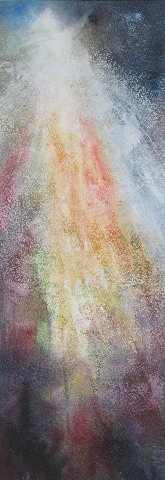 Das Licht scheint in der Finsternis. Aquarell von Gabriele Koenigs. Im Passepartout für Bilderrahmengröße 25 cm x 60 cm. Als Original erhältlich