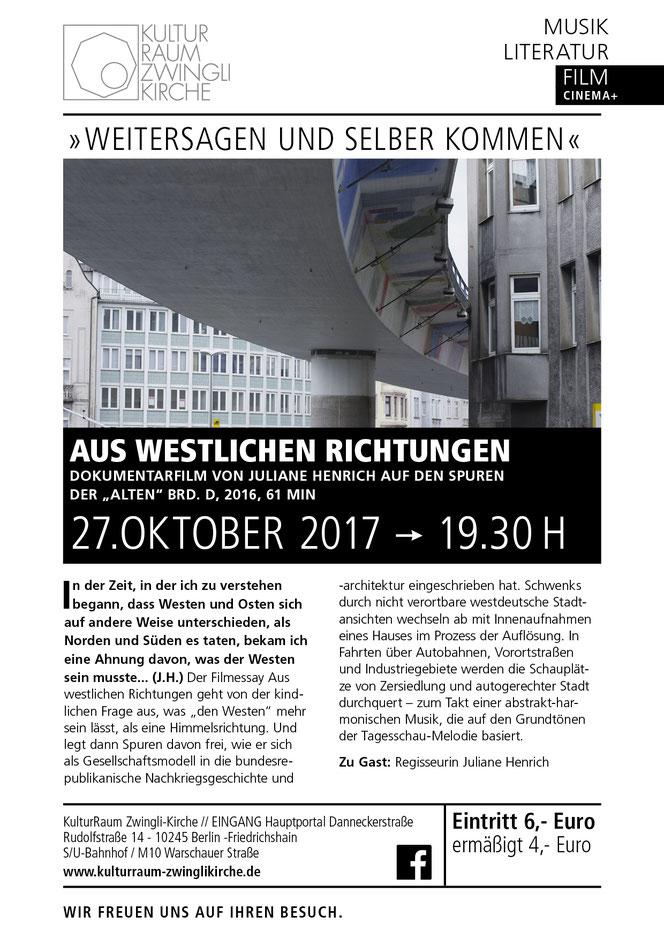 Aus westlichen Richtungen - KulturRaum Zwingli-Kirche e.V.
